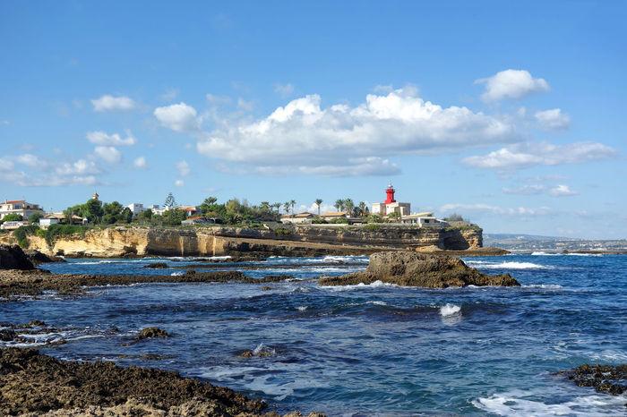 Rock Coast Lighthouse Plemmirio - Pillirina 🐠 Siracusa Sicily Italy Water Sea Beach Blue Sky Horizon Over Water Cloud - Sky