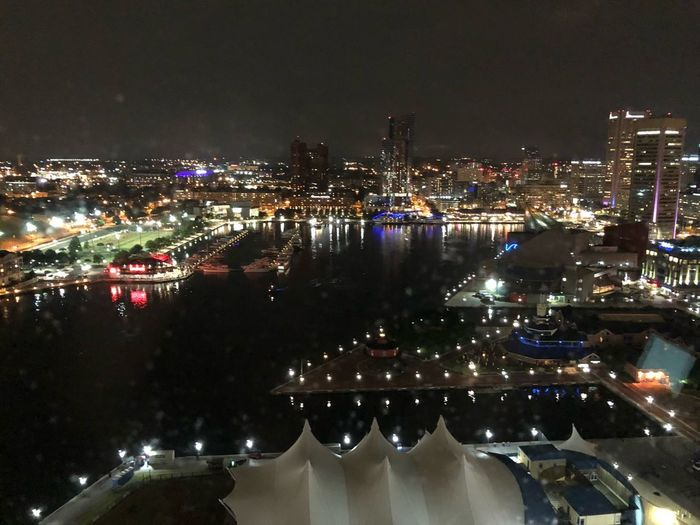 A view from a room Skyline Baltimore Harbor Night Architecture Illuminated Building Exterior City Built Structure Cityscape Water No People High Angle View Travel Destinations