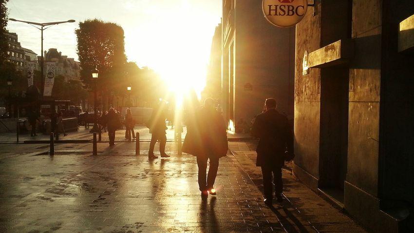 Paris, France  Sunrise Sunrise_Collection Streetphotography Streetphoto_color People Morning Morning Light City Center Champs-Élysées  Black&Yellow Urbanphotography City Citylife Fotography Sun Morning Sunrise Morning Sun Urban