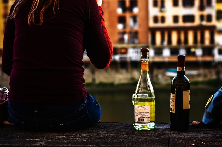 Good evening. Drink Drinking Bottle Wine Winebottles Girl Summer Florence Food And Drink Alcoholic Drink Red Wine The Street Photographer - 2018 EyeEm Awards