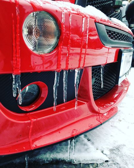Beast from the East IPhoneography Mini Car Bmw Mini Extreme Weather Weather Cold Temperature Wintertime Winter Beast From The East Icicles Hanging Icicles Ice Cold Abstract Composition Low Angle View Transportation Mode Of Transport Car Red Headlight Land Vehicle Day Outdoors Retro Styled No People Close-up