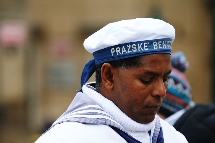 Pensive sailor Prague Czech Republic Czech Czech Beer Peakless Cap White Cap Uniform White Uniform White Color Sailor Sailorman Headshot Portrait One Person Focus On Foreground Close-up Cap Men Clothing Hat Looking Away Profile View Day Real People