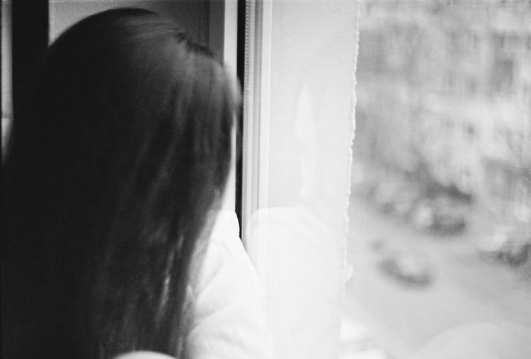 Analog Close-up Film Focus On Foreground Human Hair Indoors  Looking Person Window Young Adult