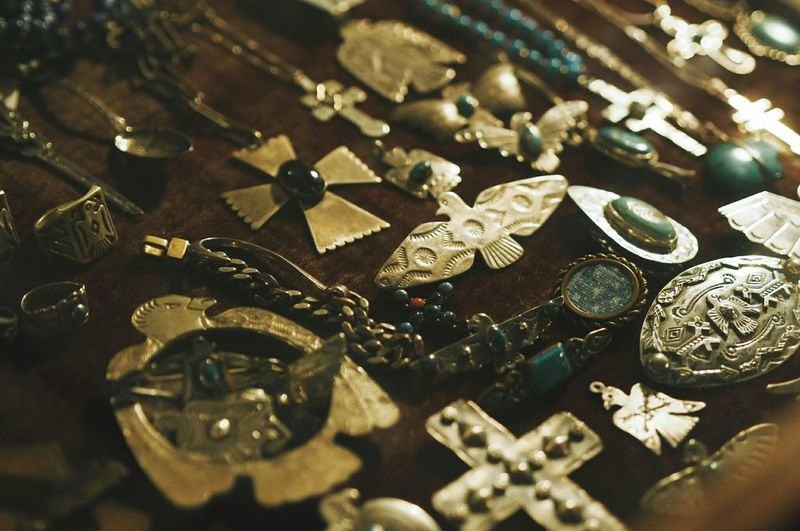 High Angle View Of Jewelry On Table