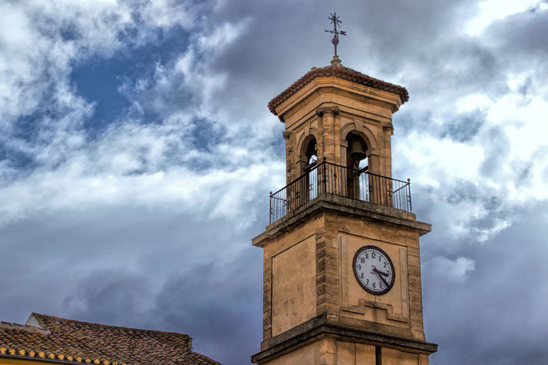 Architecture Bell Tower Building Exterior Built Structure Clock Clock Face Clock Tower Cloud - Sky Day Low Angle View Minute Hand No People Outdoors Sky Time Tower