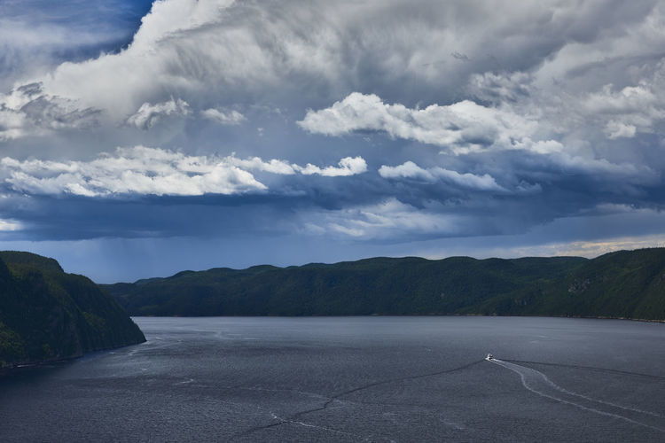 In the Fjord Quebec Boat Canada Cloud - Sky Clouds Clouds And Sky Fjord Landscape River Sky Water