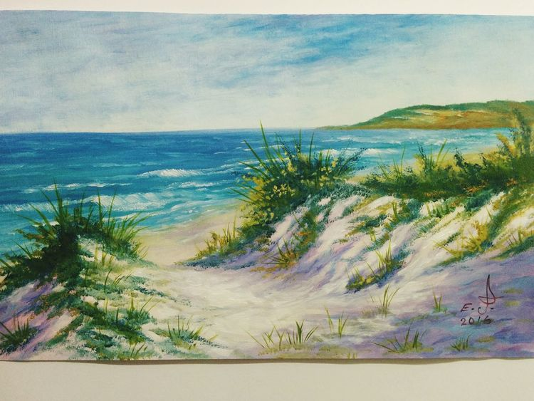 """Coast of California ( pismo beach ) oil on canvas 16""""_24"""". Tranquil Scene Beach Scenics Beauty In Nature Tranquility Shore Nature Water Sea Coastline Sand Sand Dune Fine Art Drawing My Artwork Art, Drawing, Creativity Oil Painting My Art Colllection Nature Friendship. ♡   Love ♥ Koi."""