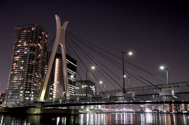 Nightphotography Tokyo Architecture Bridge Bridge - Man Made Structure Building Building Exterior Built Structure City Cityscape Connection Engineering Illuminated Light Modern Nature Night Office Building Exterior Outdoors Reflection River Skyscraper Urban Skyline Water