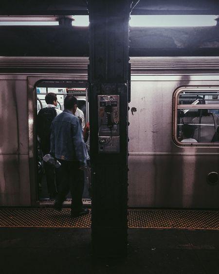 Public Transportation Transportation Rail Transportation Travel Subway Train Commuter New York City Manhattan Payphone Old