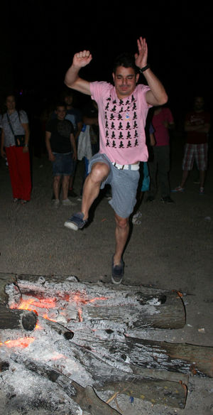 Bonfire San Juans San Juans Night Traditions Adult Adults Only Bonfire Night Full Length Jump The Bonfire Night Outdoors People Spaın Traditions Culture Traditions,dancing,culture,
