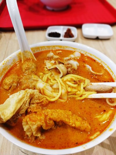 EyeEm Selects Tomcurry laksa noodles Food And Drink Indoors  Freshness Food Soup Healthy Eating Close-up Bowl No People Drink Ready-to-eat Day Malaysian Food Malaysian Food And Drink Curry Tomyam Serving Size Pork Food Stories