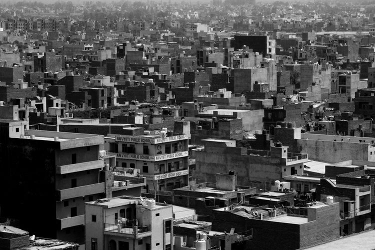 A view of residential house unauthorized colony residential area in new delhi, india.