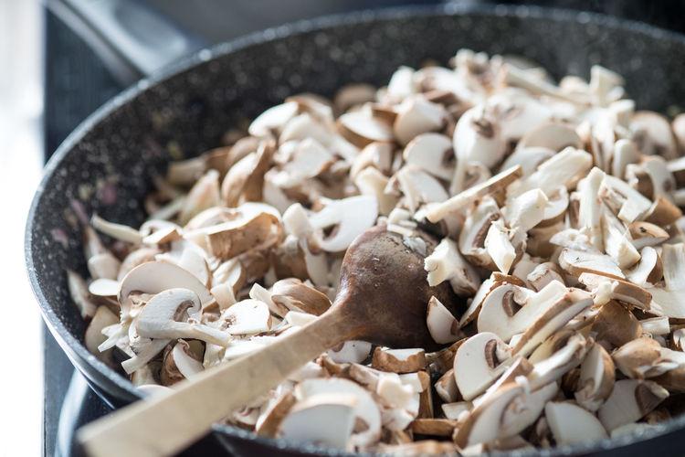 Close-up of chopped mushrooms