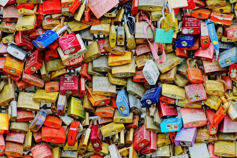Full Frame Shot Of Colorful Love Locks
