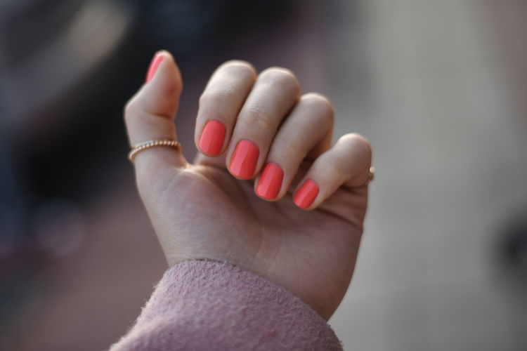 Close-up of woman hand with manicure