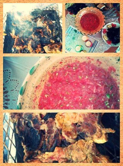 جو جميل في حوشنا البديع ^^ Libyan Salad Barbecue With Family in Azzawya #Libya
