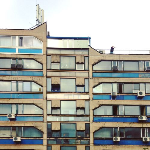 Abstract Architecture Architecture Balcony Belgrade Brutalism Building Exterior Built Structure Clear Sky Colour Concrete Day Eastern Europe Façade Low Angle View Minimal No People Outdoors Plattenbau Prefabricated Houses Serbia Sky Straightfacade Tristesse