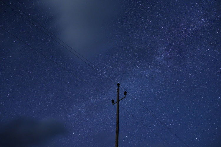 The night sky Star - Space Astronomy Sky Space Low Angle View Technology Night Galaxy Star Field Star Connection No People Scenics - Nature Beauty In Nature Electricity  Science Nature Space And Astronomy Cable Infinity Outdoors Telephone Line Power Supply Milky Way