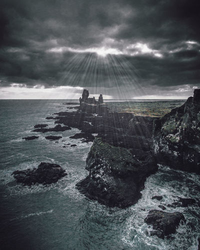 Ray of Hope Water Sky Sea Cloud - Sky Nature Rock Beauty In Nature Scenics - Nature Solid Day Rock - Object Land Tranquility Sunbeam Horizon Tranquil Scene Horizon Over Water Beach Outdoors Power In Nature Flowing Water Iceland Travel