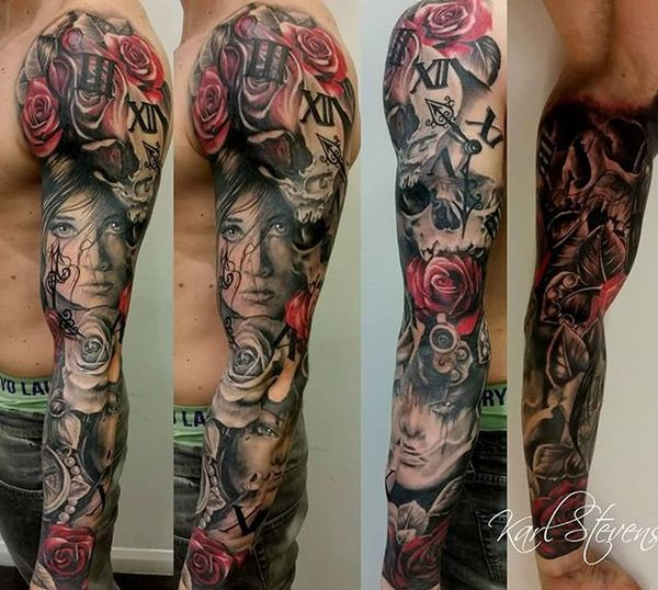 Awesome full sleeve by Karl Whiteflame Inksocerer Karlstevens Nofilter Blackandgreyshade Portraittattoo Realismtattoo Realism Tattoo Floral Roses Rosetattoo Femaleportrait Timepiecetattoo Sleevetattoos Wintontattoostudio