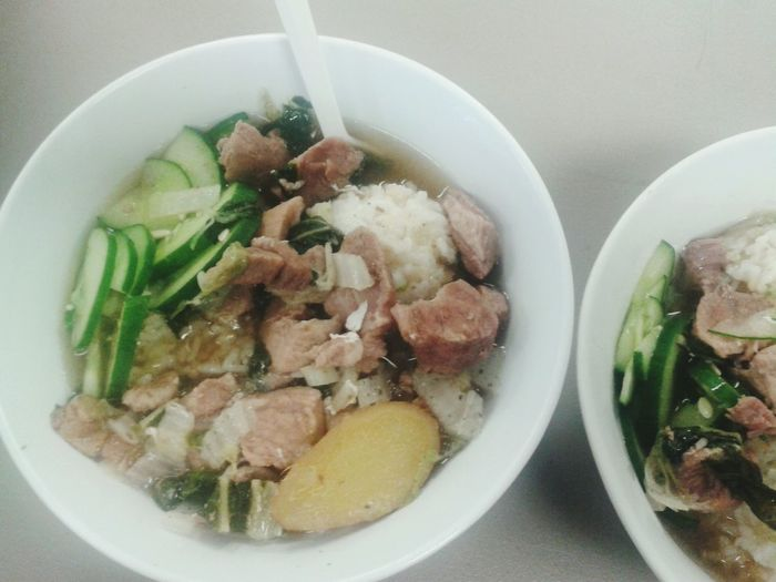 What's For Dinner? Soup Pork vegetables rice yummy♡