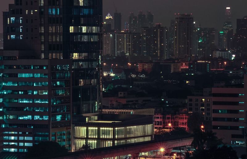 City lit up at night