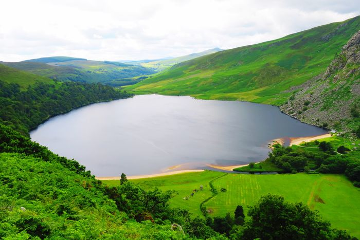 Lough Tay Mountain Tranquil Scene Scenics Lake Beauty In Nature Green Color