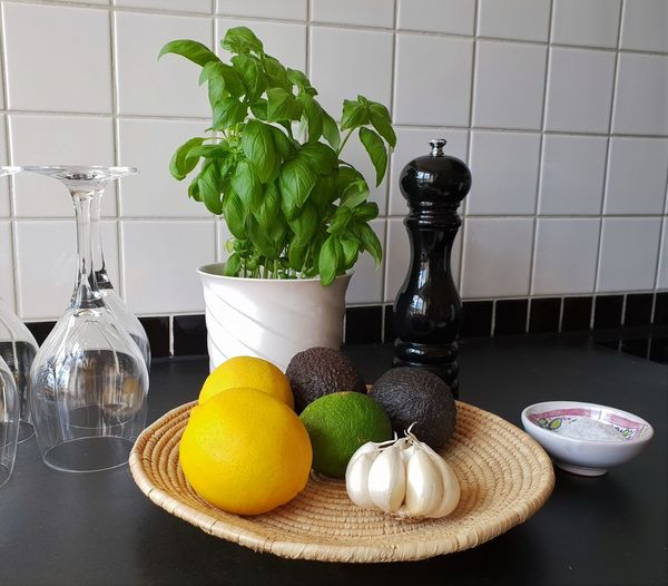 Fruits and vegetables on table at home