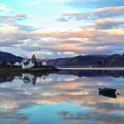 Plockton Highlands Scotland Loch  Reflection Reflections In The Water Water Reflections Watermirror Sunset Sunsetporn Skyporn Mytinyatlas