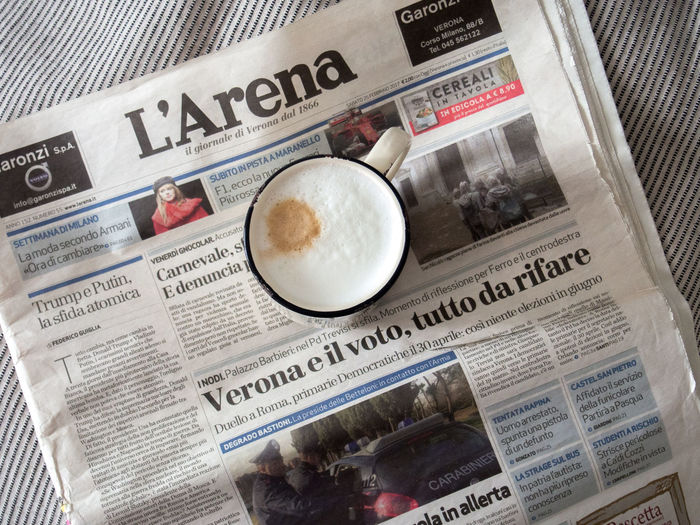 Breakfast In Bed Close-up Coffee Coffee - Drink Coffee And Newspaper Coffee Cup Coffee Time Food And Drink Freshness High Angle View In Bed Italian Italian Language Italian Newspaper Italian Text Lifestyle Morning Coffee Morning Rituals Mug Newspaper No People No Rush Paper Reading Text