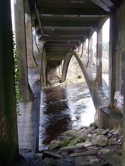Built Structure Architecture Water Connection Bridge - Man Made Structure River Indoors  Dirty Abandoned Messy Destruction Bad Condition Column Damaged Architectural Column Canal Ruined Obsolete Flowing Water Steps Blairgowrie