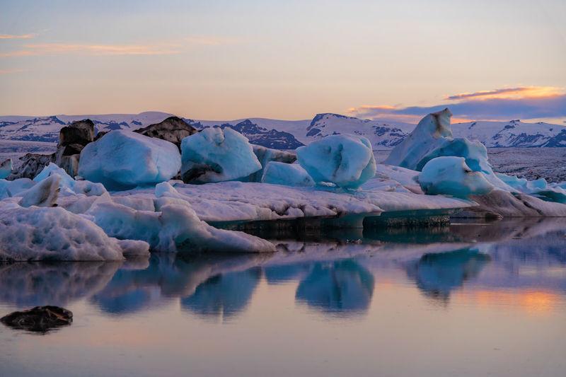 Close-Up Of Icebergs On Frozen Lake At Jokulsarlon Glacial Lagoon