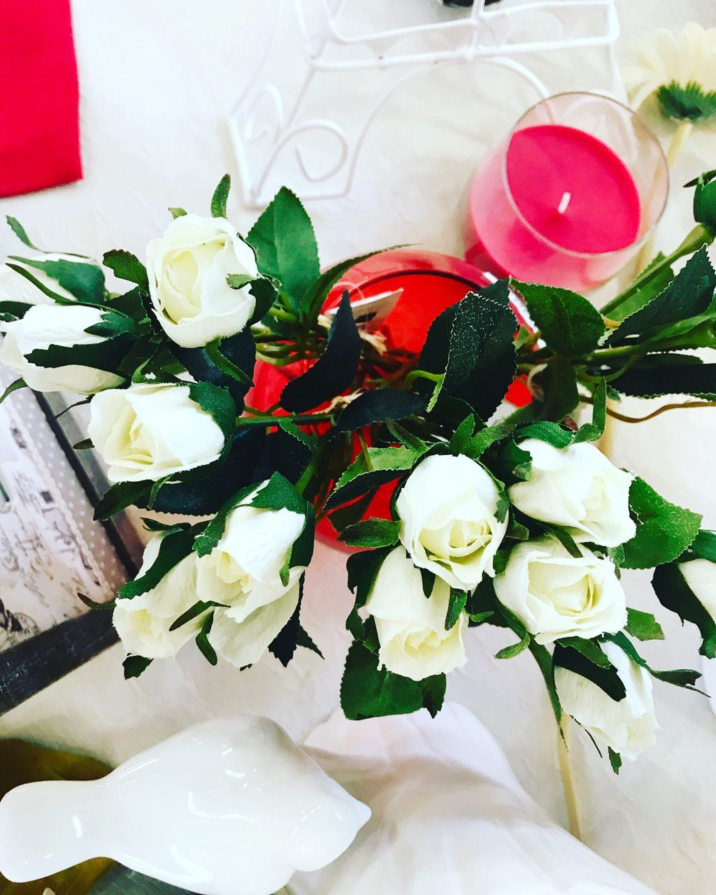 indoors, flower, celebration, rose - flower, still life, no people, white color, high angle view, table, bouquet, close-up, freshness, wedding, leaf, food, ready-to-eat, day
