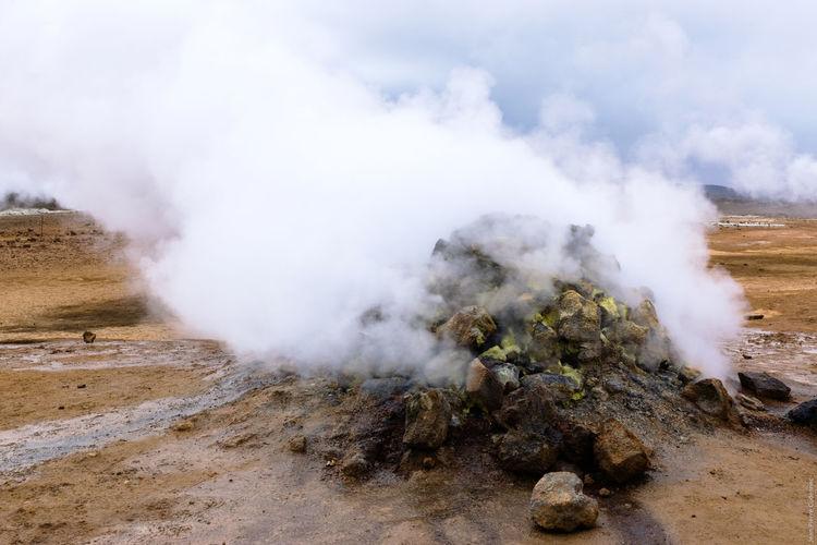 Steam Emitting From Hot Spring At Hverir