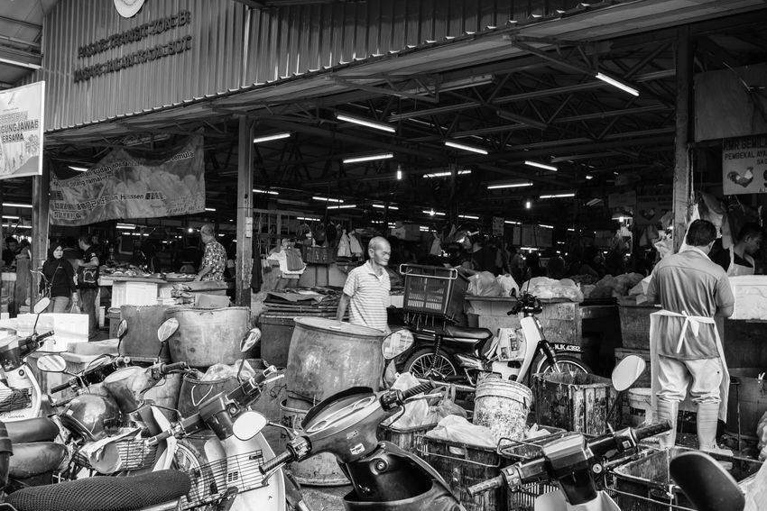 KUALA LUMPUR, MALAYSIA - 18TH DECEMBER 2016;Unidentified people shop at local market in Chow Kit. Chow kit has several traditional local markets selling fresh food to locals in Kuala Lumpur. Agriculture Black And White Chicken Chow Kit Farm Life Fresh Produce Kuala Lumpur Malaysia Market Stall Sell Shopping Trade