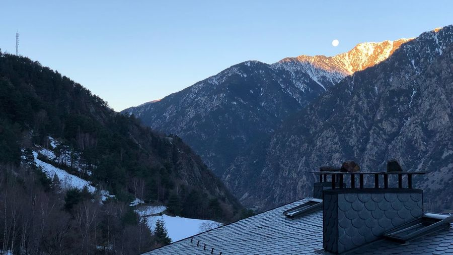 Andorra🇦🇩 Andorra Escaldes Moon Mountain Sky Scenics - Nature Mountain Range Beauty In Nature Nature Snow Cold Temperature Architecture Winter No People Built Structure Tranquility Clear Sky Tranquil Scene Snowcapped Mountain Environment Non-urban Scene Outdoors