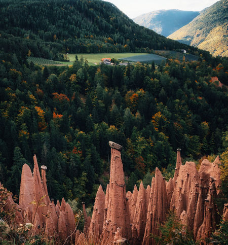 Earth pyramids with stones on top in Renon Ritten region, South Tyrol, Italy. Piramide Pyramid Beauty In Nature Earthporn Forest Growth Italy Landscape Mountain Mountain Peak Mountain Range Plant Scenics - Nature Travel Travel Destinations
