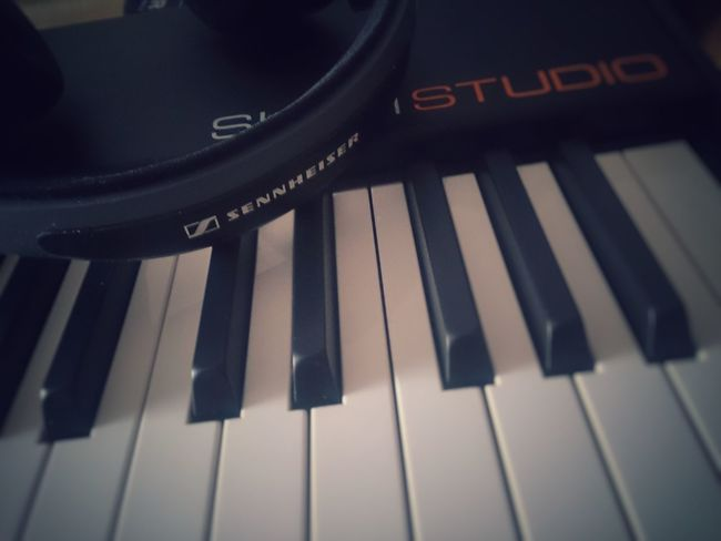Musical Instrument Music Piano Key Piano Arts Culture And Entertainment Black Color Close-up Keyboard Instrument Musical Equipment No People Classical Music Mobilephotography BrianArlt Mobile Photography Headphones Studio