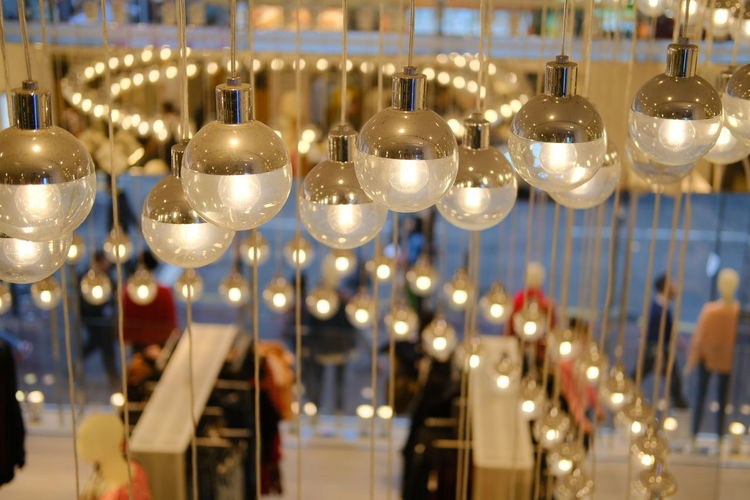 View of illuminated lights hanging from ceiling