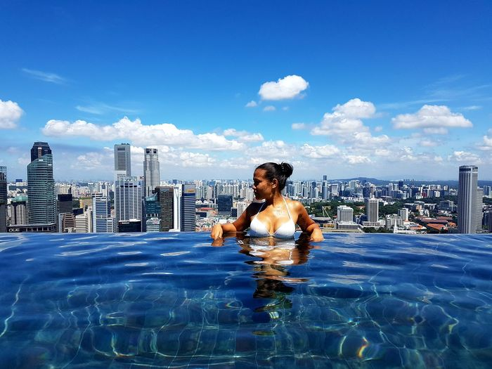 Infinity Pool Girl Bikini Water Swimming Pool Swimming Sky Cloud - Sky Horizon Over Water Calm The Traveler - 2018 EyeEm Awards