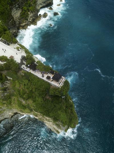 High angle view of dam on sea