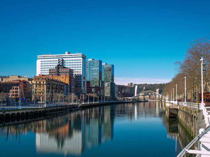 River and buildings against clear blue sky