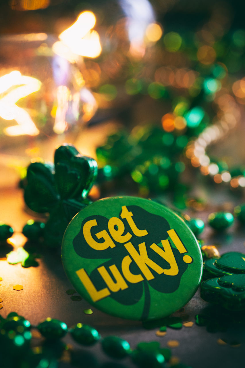 celebration, text, green color, indoors, communication, no people, close-up, christmas, night, christmas decoration, multi colored