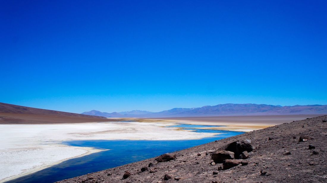 Atacama / Chile 🇨🇱 Blue Nature Tranquil Scene Copy Space Geology Clear Sky Beauty In Nature Tranquility Scenics Landscape Arid Climate Physical Geography No People Outdoors Day Desert Volcanic Landscape Mountain Salt - Mineral Sky