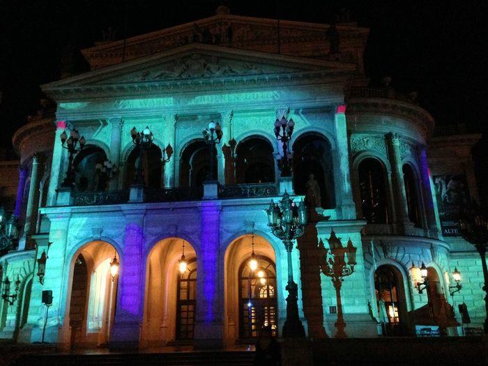 Building Exterior History Illuminated Luminale 2018 Old Opera House Frankfur