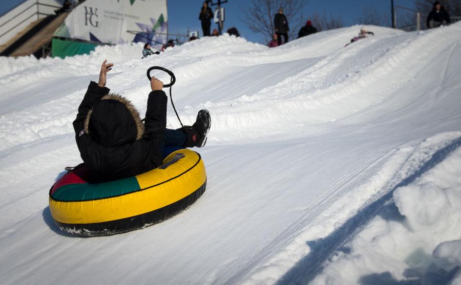 Snow slide with tube Cold Temperature Fun Hill Real People Slide Slides Sliding Snow Snow Slide Snow Tubing Snow ❄ Sport Tobogan Toboggan Toboggan In Winter Tobogganing Tube Tubing Unrecognizable Person White Winter