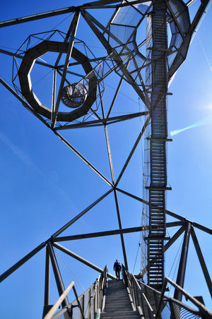 Blue Built Structure Connection Diminishing Perspective Germany Halden Low Angle View Ruhrgebiet Sky Steps Tetraeder The Way Forward