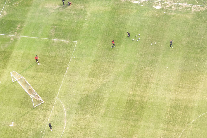 Aerial View American Football Field Competition Day Flying High Grass Green Color Motorsport Outdoors People Playing Soccer Sport Sports Race Sports Track Stadium