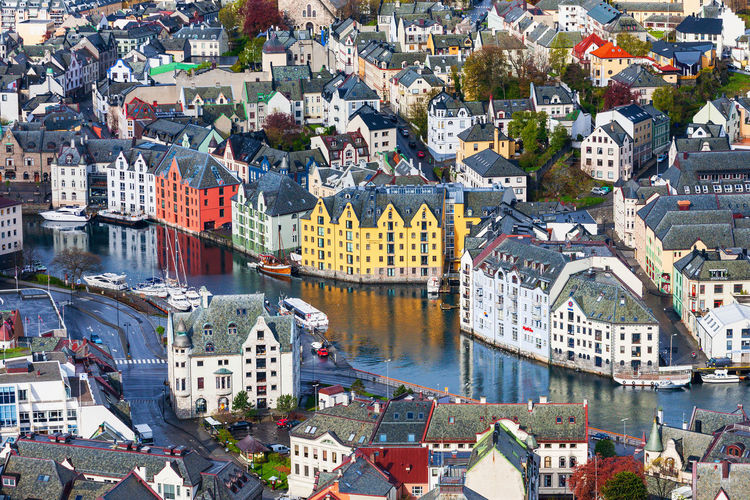 Beautiful old city view in alesund, norway