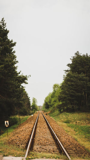 Railroad tracks amidst trees on field against clear sky